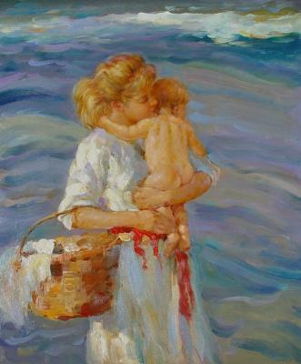 Виндфелдт. Мать держит ребенка на руках