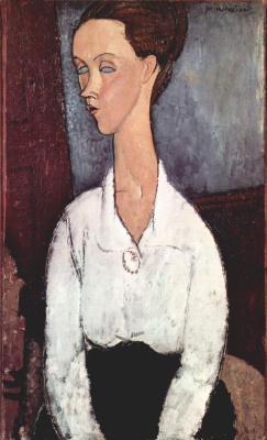 Амедео Модильяни. Портрет Луни Чеховской в белой блузе