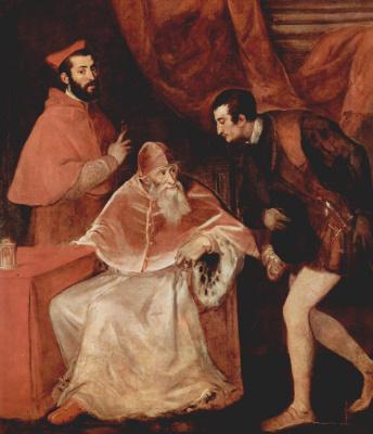 Тициан Вечеллио. Портрет папы Павла III с кардиналом Алессандро Фарнезе и герцогом Оттавио Фарнезе