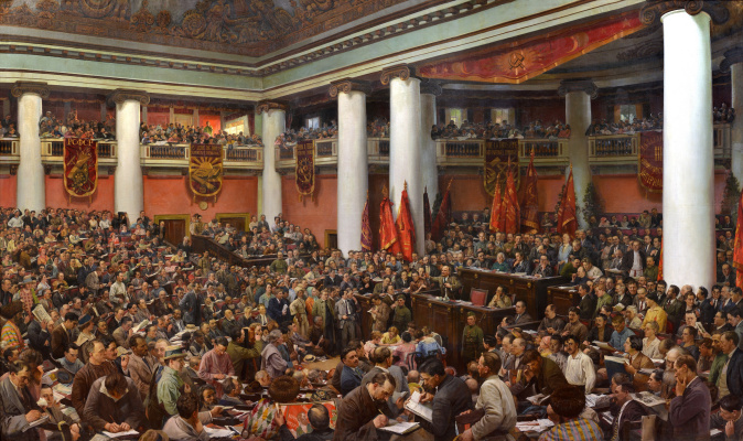 Isaac Brodsky. Solemn opening of the Second Congress of the Comintern in the Palace of Uritsky in Leningrad