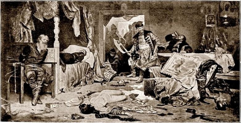 Alexander Nikonorovich Novoskoltsev. Oprichniki in the house of the disgraced boyar.