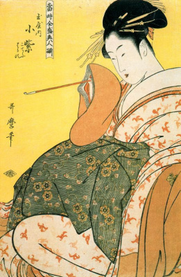 Китагава Утамаро. Комурасаки из Тамаи с трубкой в руке