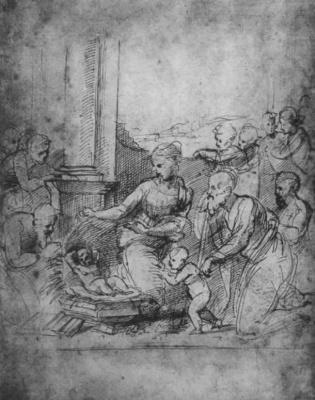 Рафаэль Санти. Этюд: поклонение младенцу Иисусу