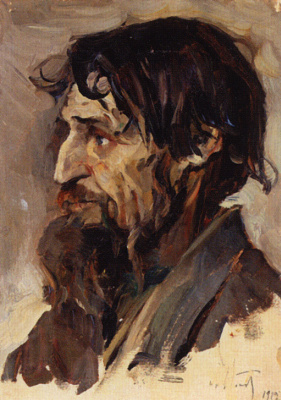 "Mikhail Vasilyevich Nesterov. A bearded man. Study for the painting ""In Russia (Soul of the people)"""