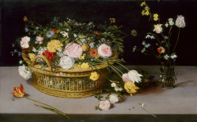 Jan Brueghel the Younger. Still life with a basket of flowers and a bouquet in a vase