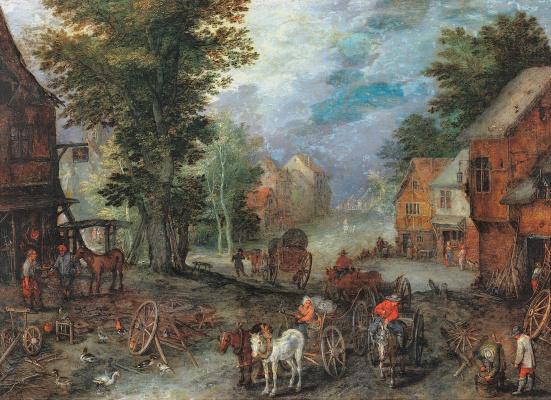 Jan Bruegel The Elder. Landscape with forge