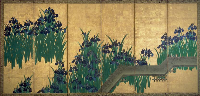 Korin Ogata. Irises at Yatsuhashi