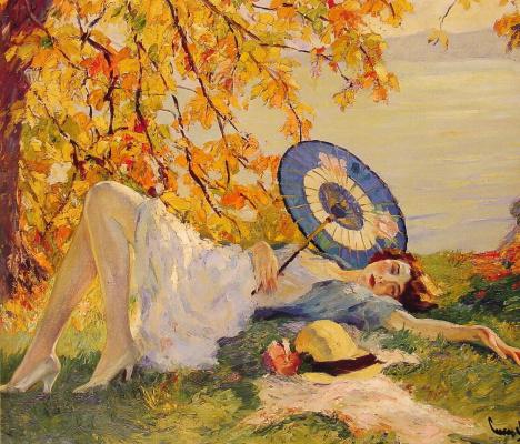 Эдвард Кукуэль. Женщина лежащая на берегу озера