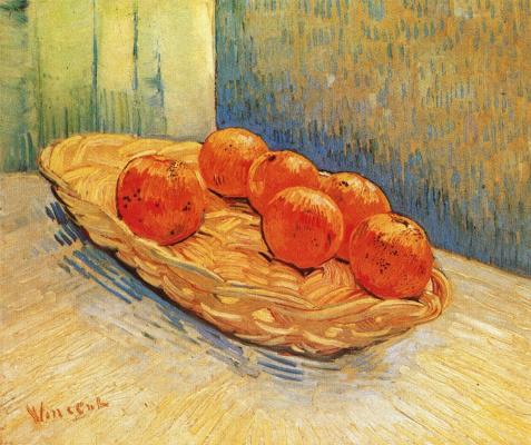Винсент Ван Гог. Натюрморт с корзинкой и шестью апельсинами