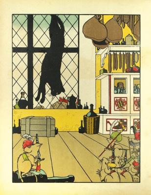 """Георгий Иванович Нарбут. Illustration for Zhukovsky's book """"How a Cat Mice Was Buried"""". Kitchen"""