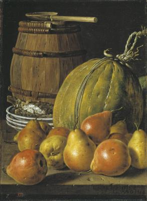 Луис Мелендес. Натюрморт с грушами, дыней, блюдами и бочкой