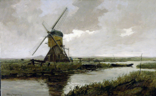 Jan Hendrik Weissenbrook. Landscape with a windmill