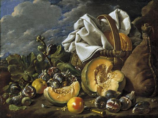 Луис Мелендес. Натюрморт с дыней и инжиром, яблоками, бурдюком и закусками в корзине на фоне пейзажа