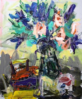Ilya Pavlovich Spichenkov. Bouquet, vintage iron, tea mug