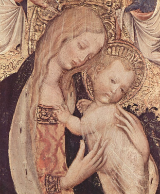 Antonio Pisanello. Madonna with a quail scene: Mary with Christ child, two angels and a quail detail: Madonna