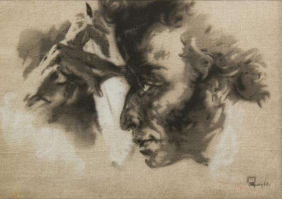 Арсений Леонидович Шульц. Портрет Пушкина. 1968 белила