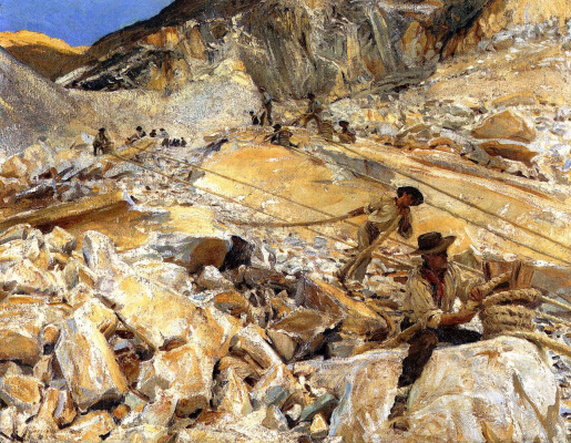 John Singer Sargent. Mining of marble from the quarries in Carrara