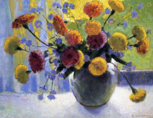 Bernhard Kutmann. Yellow flowers in a vase