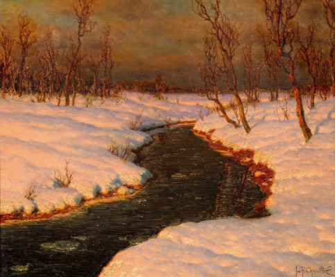 Ivan Fedorovich Schultze. Snowy landscape with a river at sunset