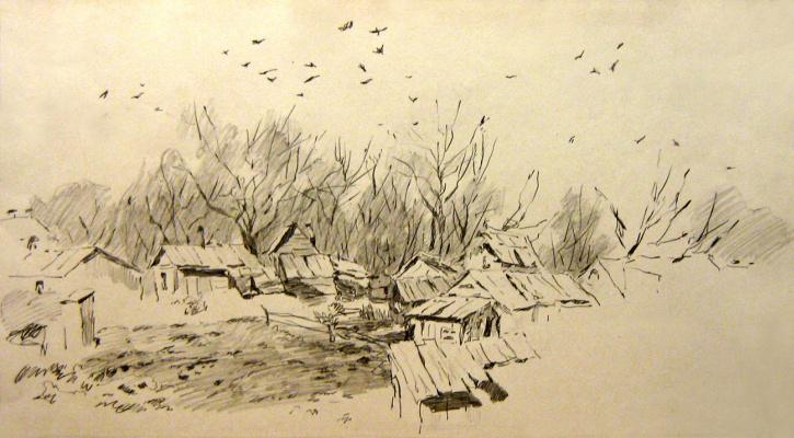 Dmitry Vladimirovich Sazhnov. Rural landscape with a pencil