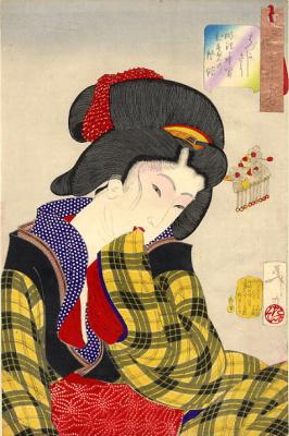 "Tsukioka Yoshitoshi. Flirty girl of the Meiji period. Series ""32 the feminine face of everyday life"""