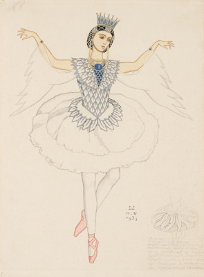 "Ivan Yakovlevich Bilibin. Costume design for Anna Pavlova as the Swan Princess for the ballet by N. N. Cherepnin ""Russian Fairy Tale"""