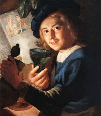Gerard van Honthorst. Young drinker