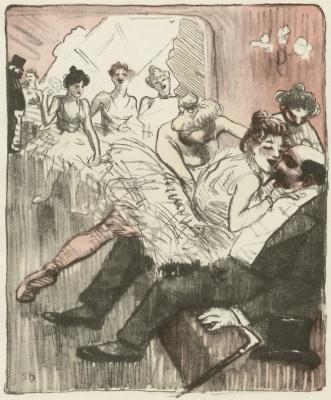 """Теофиль-Александр Стейнлен. Фойе танцевальных классов. Карикатура в журнале """"L'Assiette au buerre"""", 14 июля 1901"""