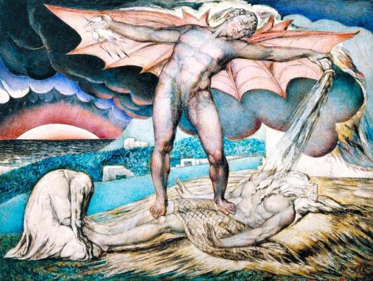 William Blake. Satan strikes job with sore