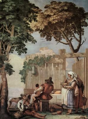 Джованни Доменико Тьеполо. Фрески из виллы Вальмарана в Виченце. Крестьянское семейство за трапезой