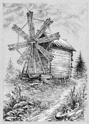 Vadim Viktorovich Maslennikov. Russian North. Windmill in Kizhi.