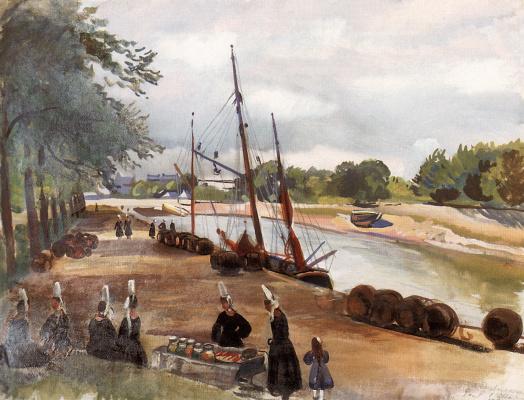 "Zinaida Yevgenyevna Serebriakova. Brittany. The town of Pont l""Abbe. Port"