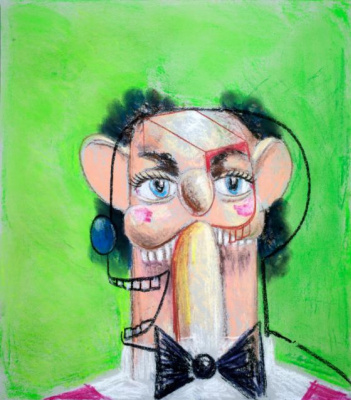 George Condo. Jean Louis on a green background