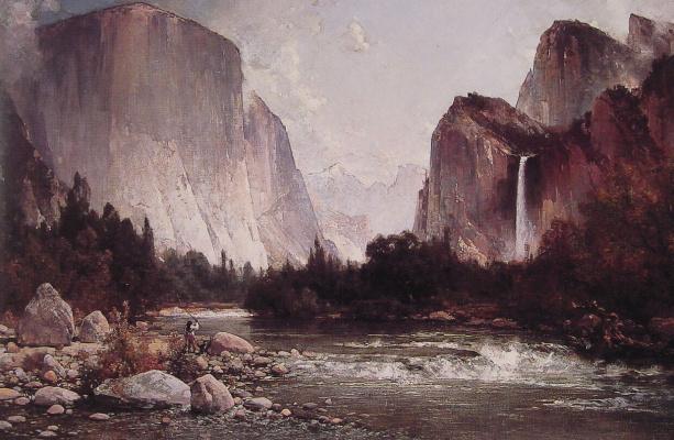 Thomas Hill. Fishing on the Merced river
