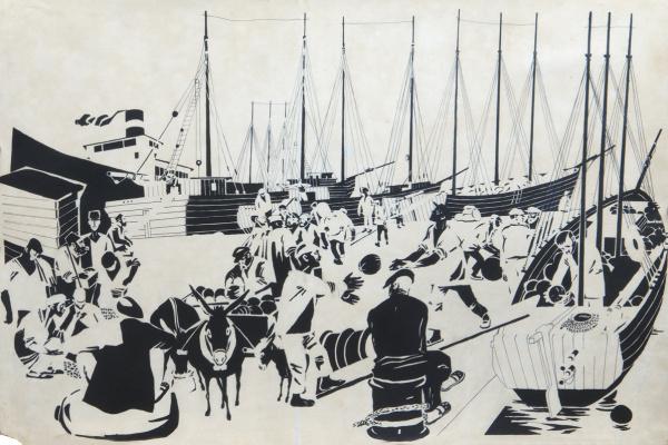 Дмитрий Стахиевич Моор (Орлов). Утро в севастопольском порту. 1920-е  перо