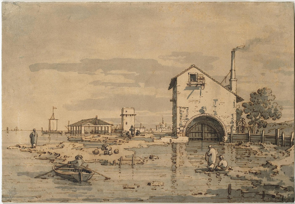 Giovanni Antonio Canal (Canaletto). Capriccio. House and tower on the lagoon