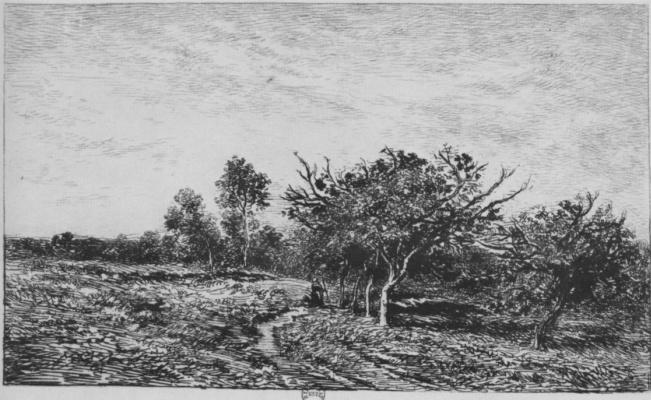Charles-Francois Daubigny. Apple trees at Auvers