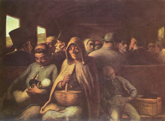 Honore Daumier. The third class carriage