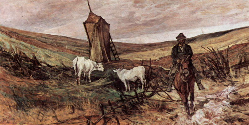 Giovanni Fattori. Herders on horseback herding cows