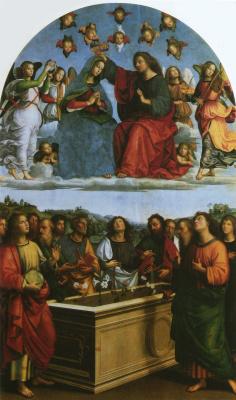 Raphael Sanzio. The Coronation Of The Virgin. The Altar Of The Oddi. Predella