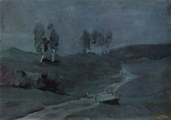 Isaac Levitan. Shadow. Moonlit night