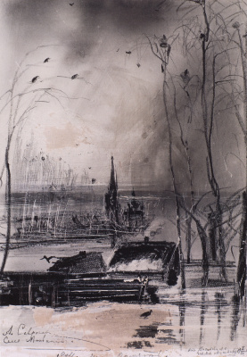 """Alexey The Kondratyevich Savrasov. Rooks have arrived. Landscape with a Church. The sketch for the painting """"Rooks have arrived"""""""