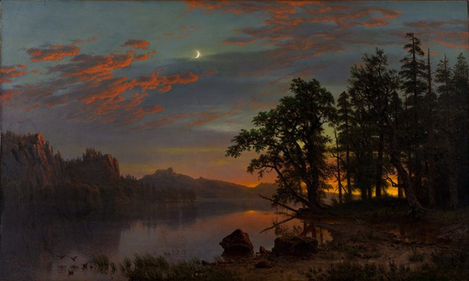 Albert Birštadt. A river landscape. Night over the valley
