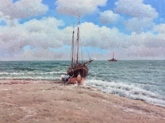 Vasily Ivanovich Gribennikov. On the seashore