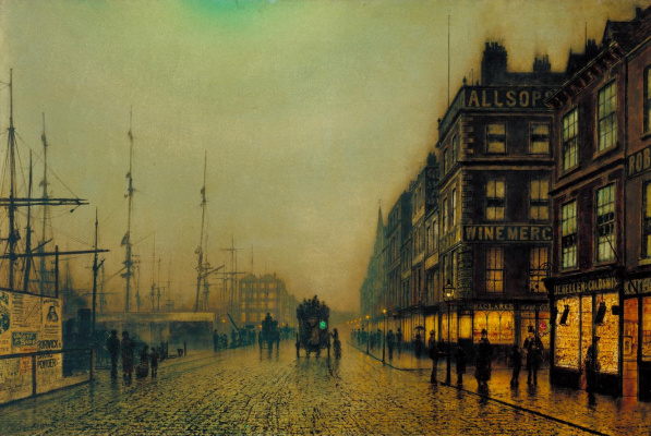 John Atkinson Grimshaw. Liverpool Embankment in the Moonlight