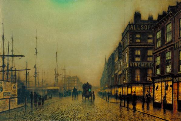 Джон Эткинсон Гримшоу. Liverpool Embankment in the Moonlight