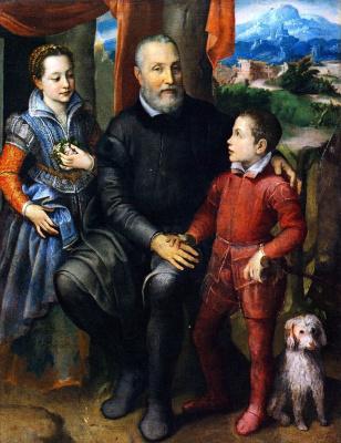 Софонисба Ангиссола. Портрет семьи художницы: отец Амилькар, сестра Минерва и брат Асдрубаль
