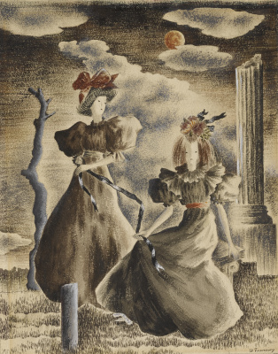 Dorothea Tunning. Two women and a blue ribbon