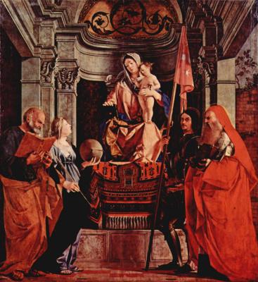Лоренцо Лотто. Алтарь церкви Санта Кристина аль Тивероне, центральная часть. Мадонна на троне, апостол Петр, св. Кристина Больсенская, св. Либе