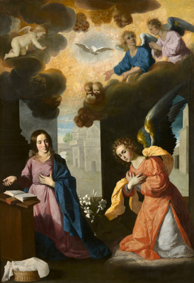 Francisco de Zurbaran. The main altar of the Carthusian monastery of Nuestra Señora de La Definicion in Jerez yeah La Frontera, scene: Annunciation